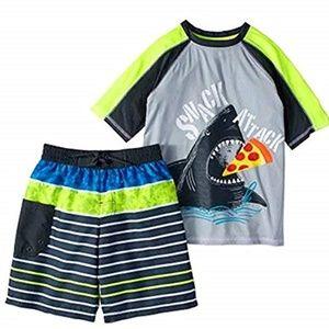 Wonder Nation Boy's Rash Guard Swim Set